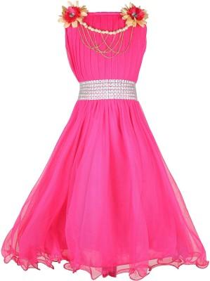 Delhiite Girls Maxi/Full Length Casual Dress(Red, Sleeveless)