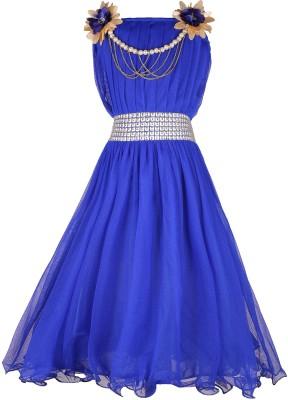 DELHIITE Girls Maxi/Full Length Casual Dress(Blue, Sleeveless)