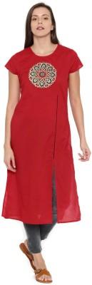 Anouk Women Self Design Straight Kurta(Red)