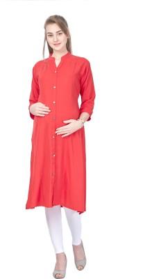 MomToBe Women Solid Frontslit Kurta(Red)