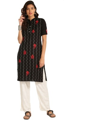 Anouk Women Self Design Straight Kurta(Black)
