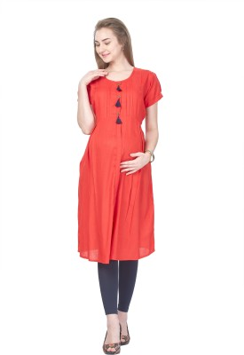 MomToBe Women Solid A-line Kurta(Red)