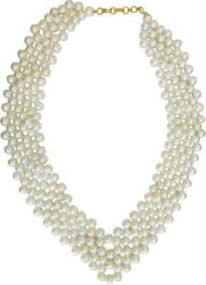 Rich & Famous stylish pearl necklace Mala For Women Pearl Metal Necklace at flipkart