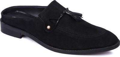 44957dbc51b745 Berto Daria Suede Backless Loafer Slip on Loafers For Men(Black)