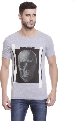 Hillisi Gare Printed Men's Round Neck Grey T-Shirt