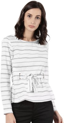 ether Casual Full Sleeve Striped Women White Top