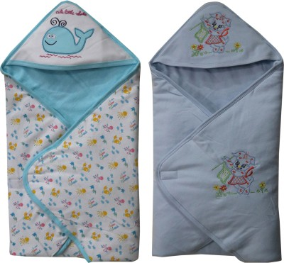 FAVISM Cartoon Single Hooded Baby Blanket(Cotton, Blue)