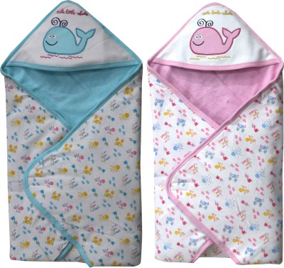 FAVISM Cartoon Single Hooded Baby Blanket(Cotton, Blue & Pink)