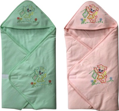 FAVISM Cartoon Single Hooded Baby Blanket(Cotton, Green & Peach)