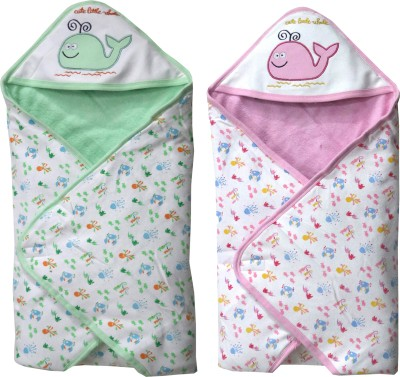 FAVISM Cartoon Single Hooded Baby Blanket(Cotton, Green & Pink)