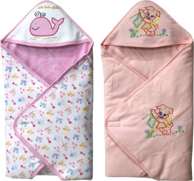 FAVISM Cartoon Single Hooded Baby Blanket(Cotton, Pink & Peach)
