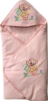 FAVISM Cartoon Single Hooded Baby Blanket(Cotton, Peach)