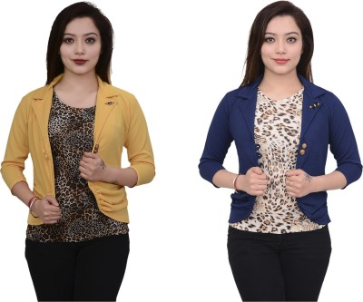 AAKRITHI Solid Double Breasted Formal Women Blazer(Multicolor)