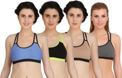 Fashion Comfortz Women Sports Non Padded Bra(Blue, Black, Brown, Grey)