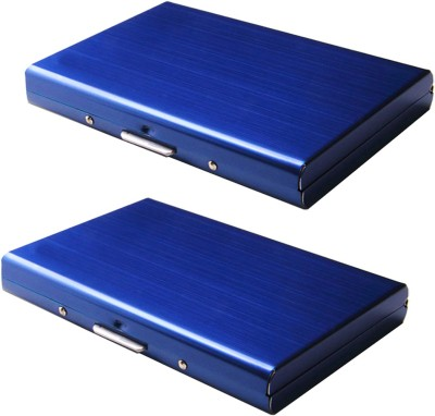 Stealodeal Blue Waterproof Limited Edition Metal Atm (Pack of 2) 6 Card Holder(Set of 2, Blue)