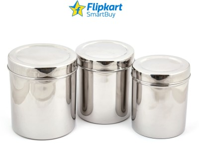 Flipkart SmartBuy Stainless Steel Deep Dabba  - 500 ml, 750 ml, 1000 ml Steel Grocery Container, Spice Container, Utility Box(Pack of 3, Silver)