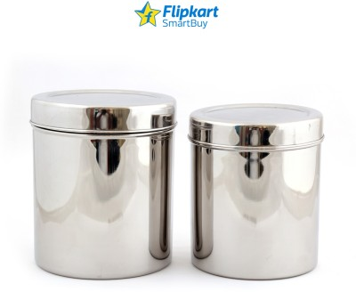 Flipkart SmartBuy Stainless Steel Deep Dabba  - 500 ml, 750 ml Steel Grocery Container, Spice Container, Utility Box(Pack of 2, Silver)