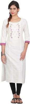 Awesome Women Embroidered Straight Kurta(White)
