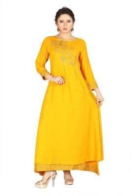 geloven india Embroidered Women Flared Kurta(Yellow)