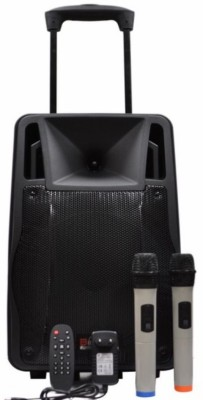 Persang Karaoke Bass Hunter Trolley Portable Speaker 12 inch with 2 Wireless Microphone Music System Set / FM Radio / USB / Audio Input / Rechargeable Battery Outdoor PA System(120 W)  available at flipkart for Rs.12939