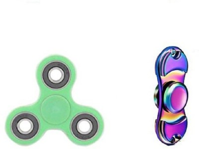 Premsons Metal Dual Fidget Spinner, Metallic Rainbow with Dual Color Unique Fidget Hand Spinner, Green/Black Multicolor