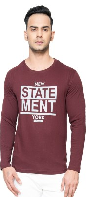 Perroni Printed Men Round Neck Maroon T-Shirt