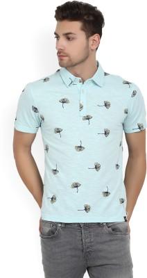 Urban Ranger by Pantaloons Printed Men Polo Neck Light Blue T-Shirt