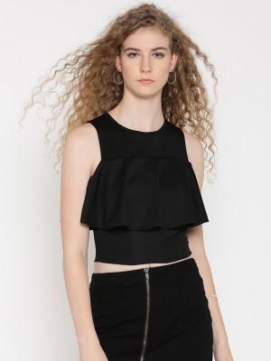 Veni Vidi Vici Party Sleeveless Solid Women Black Top