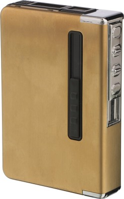 DOCOSS Rechargeable Box Lighter Flameless Windproof Metal Gold Electric Lighter With Case Holder Usb Charging Cable Lighters Cigarette Lighter(Gold)  available at flipkart for Rs.659