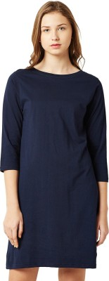 Miss Chase Women Shift Dark Blue Dress