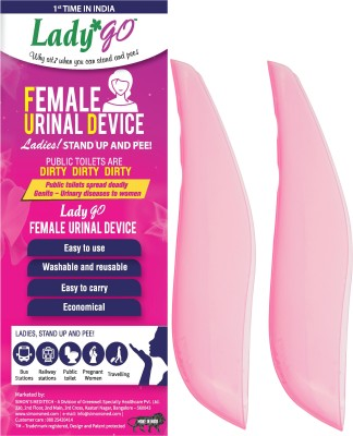 LadyGo Stand up and Pee 2 Reusable Female Urination Device(Pink, Pack of 2)