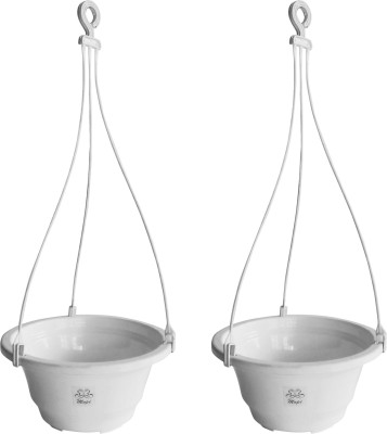Mopi Hanging Flower Pot Container (Plastic,white, Height - 11 cm) Plant Container Set(Pack of 2, Plastic)  available at flipkart for Rs.248