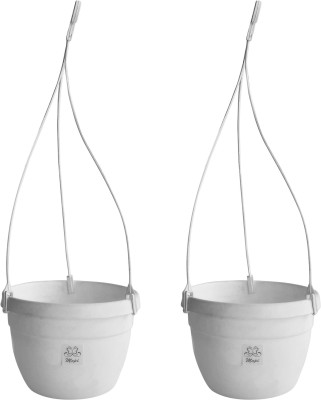 Mopi Hanging Flower Pots 7inch Planter,white Plant Container Set(Pack of 2, Plastic)  available at flipkart for Rs.191