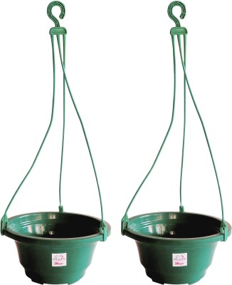 Mopi Hanging Flower Pot Container (Plastic,dark green, Height - 11 cm) Plant Container Set(Pack of 2, Plastic)  available at flipkart for Rs.245