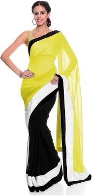 Bollywood Designer Solid Fashion Georgette Saree(Yellow, Black) Flipkart