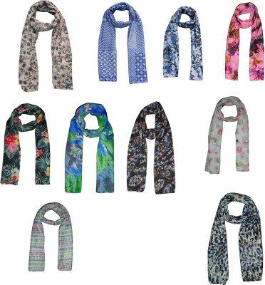 D fashion Printed Combo Set of 10 Poly Cotton Women's Scarf, Stole