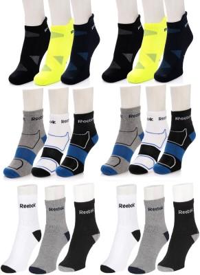 REEBOK Men & Women Ankle Length Socks(Pack of 18)