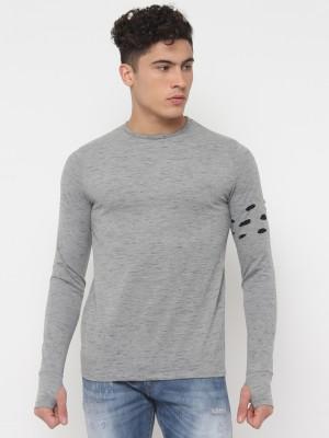 SayItLoud Solid Men Round Neck Black, Grey T Shirt