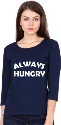 Be Awara Graphic Print Women Round Neck Dark Blue T-Shirt