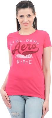 Aeropostale Applique Women Round Neck Pink T-Shirt