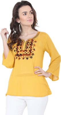 FORELEVY Casual 3/4 Sleeve Solid Women Yellow Top