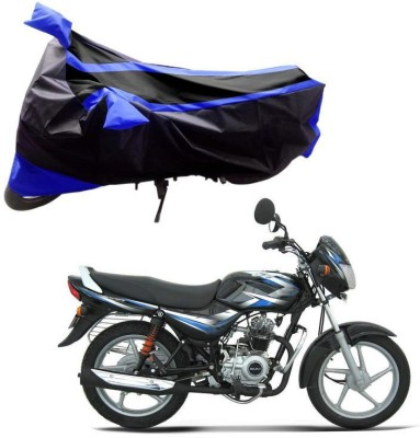 Purpleheart Two Wheeler Cover for Bajaj(CT 100, Black, Blue)