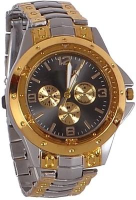 swan ROSRA SILVER GOLD BLACK DIAL ANALOG MEN'S WATCH Analog Watch   For Men swan Wrist Watches