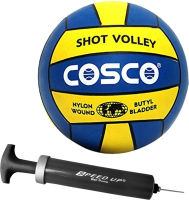 Cosco Combo of 2, 1 Shot Volleyball SIZE-4, 1 Speed Up Hand Ball Pump & 1 Needle   Ball Pump For Footballs, VolleyBalls, BasketBall Volleyball -   Size: 4(Pack of 2, Blue)  available at flipkart for Rs.530