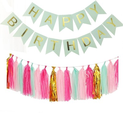 AMFIN Happy Birthday Banner Bunting Flag with Matching Tassel / Happy birthday set / Birthday decorations items combo Banner(1.4 ft, Pack of 1)