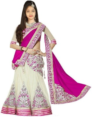 DREAMNOTE Baby Girl's Lehenga Choli Ethnic Wear Embroidered Lehenga, Choli and Dupatta Set(Pink, Pack of 12)