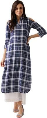 84bb0bc09 46% OFF on Libas Women s Checkered Pathani Kurta(Blue) on ...