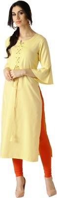 M&D Women Self Design A-line Kurta(Yellow)