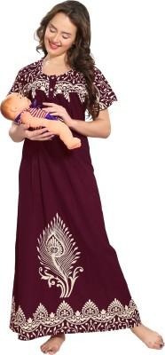 AV2 Women Maternity/Nursing Nighty(Maroon)