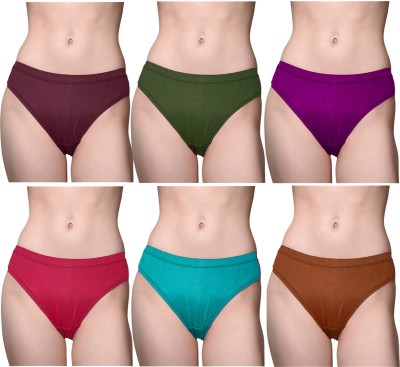 roman Women Hipster Purple, Light Blue, Red, Green, Brown Panty(Pack of 6)